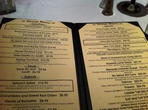 Vintage Steakhouse Menu