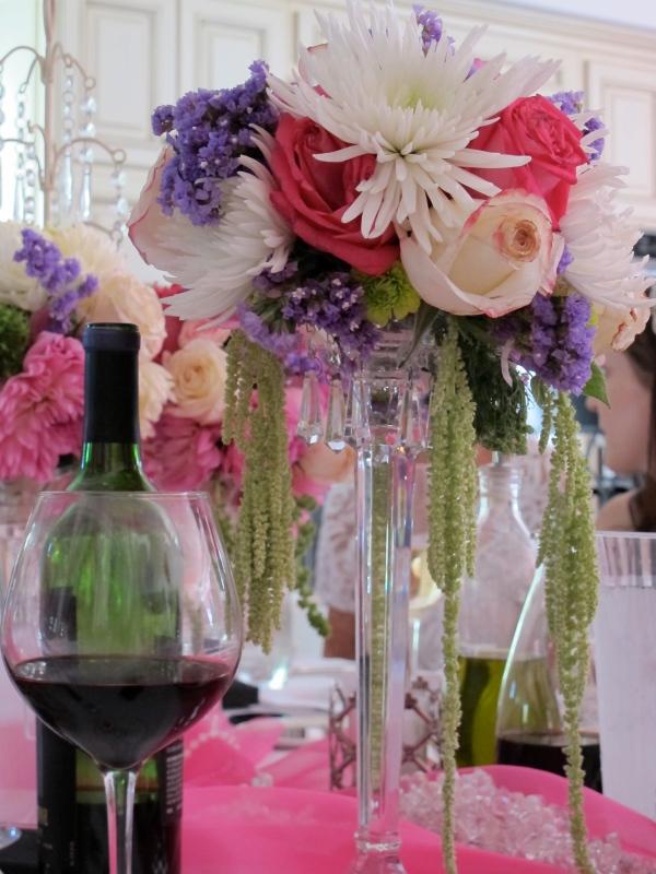 Floral arrangement for wedding shower centerpiece