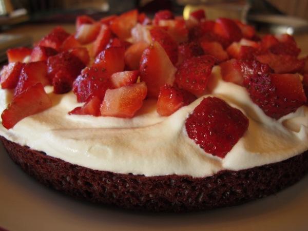 Easy red velvet strawberry shortcake