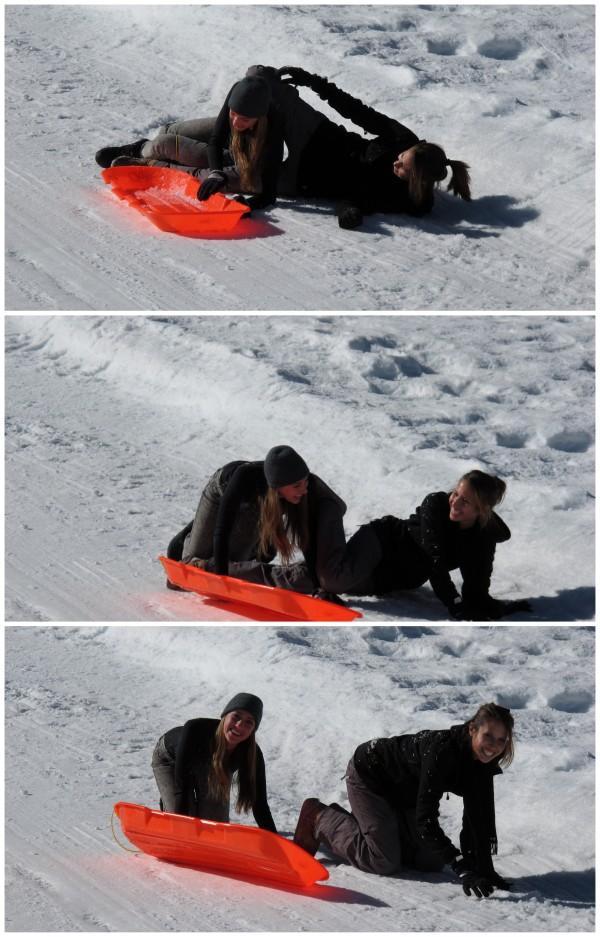 Sledding with sister