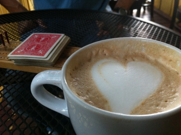 Coffee with foam heart