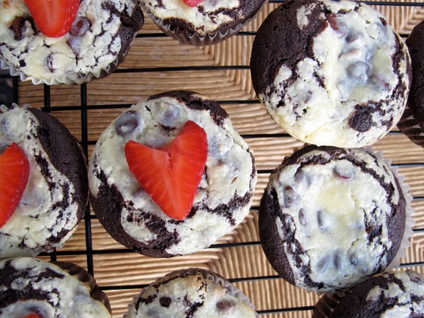 Chocolate Chip Cheesecake Brownie Muffins.