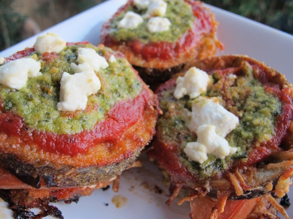 Pesto Eggplant Parmesan Stacks