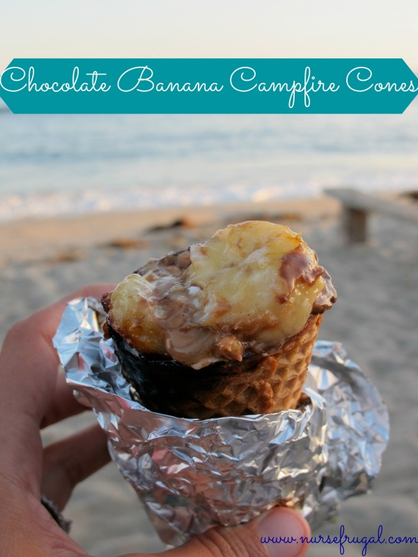 Chocolate Banana Campfire Cones